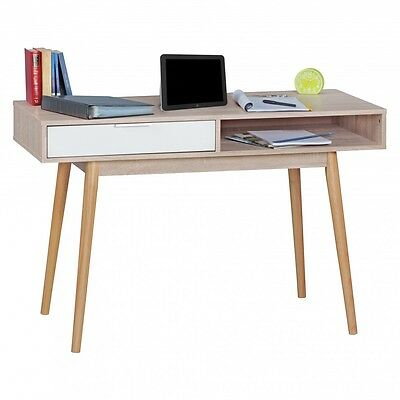 WOHNLING Retro Desk Design Computer Table Drawer Sonoma/White Table Office 120cm