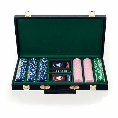 Big City Casino 300 Striped Dice Poker Chip Set with Black Case Blue Pink Green
