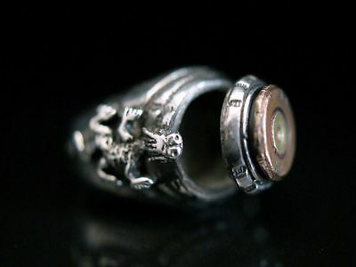 Offiziers Ring silber 835 Giftring  Ich atme tief und ohne Angst Hanussen Ring