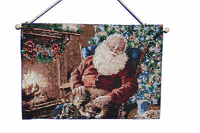 """""""Father Christmas Scene"""" Christmas Tapestry with Fibre Optic Lights."""