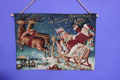 """""""Father Christmas Sleigh Scene"""" Christmas Tapestry with Fibre Optic Lights."""