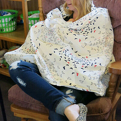 Practical Mum Breastfeeding Nursing Poncho Cover Up Cotton Floral Blanket Shawl