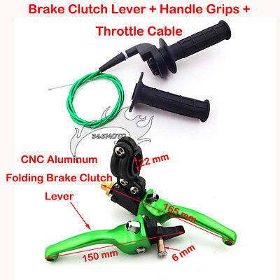 Green CNC Aluminum Brake Clutch Lever Grip Cable For Pit Dirt Bike XR CRF 50 SSR