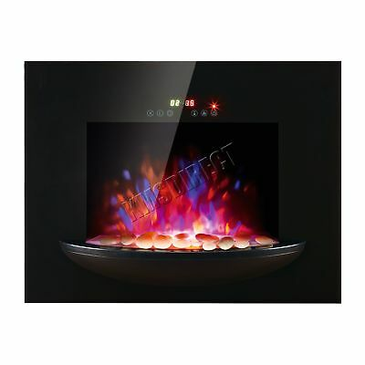 1.8KW Wall Mounted Electric Fireplace Plasma Black Glass Heater LED Flame Effect