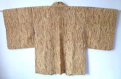 Amazing condition, handmade Japanese yellow silk Haori jacket for Kimono (H378)
