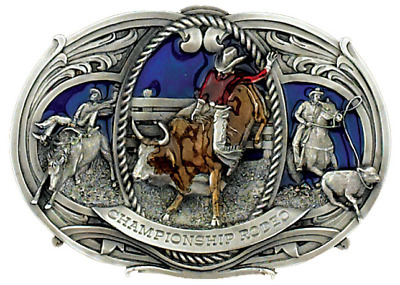 Belt Buckle Rodeo Championship Bull Rider Large Western Cowboy Made In Usa
