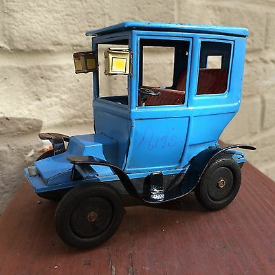 Bandai Tin Car Collectible Japan Sign Of Quality Blue Vintage Brass