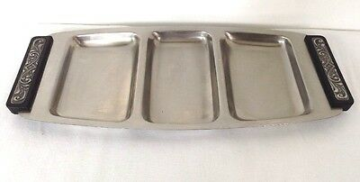 Danish Modern Stainless Steel Divided Serving Tray