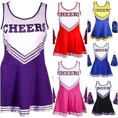 Cheerleader Outfit FANCY Dress Costume With Pom Poms High School Musical Girls