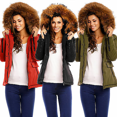 Attentif 1665 Damen Parka Blogger Echt Fell Kapuze Winter Warme Jacke Mantel