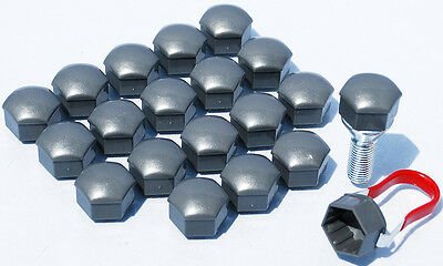 Pack of 20 Grey Car wheel bolts lugs nuts caps covers 17mm hex for Audi