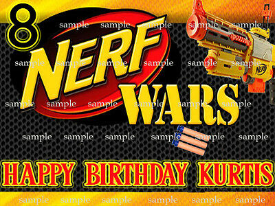 Nerf DART Edible ICING Image Birthday CAKE Topper DECORATION Free Shipping