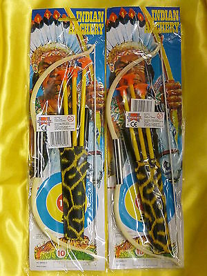 2x Childrens Kids Bow and Arrows toy archery cowboys indians wild west garden