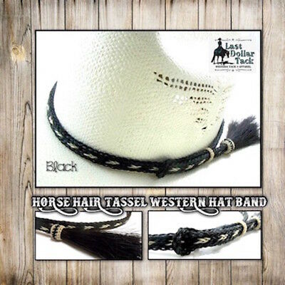 Western Hat Band Braided Horse Hair With Tassel-Outstanding Design -Sorrel/black