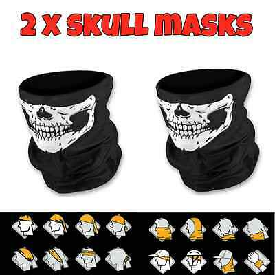 2 x Skull Skeleton Face Mask Neck Tube Scarf Ski Biker Snood Balaclava Bandana