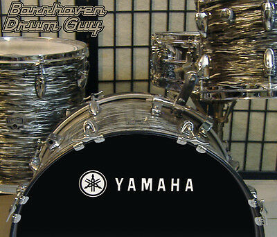 Yamaha, 70s Vintage, Repro Logo - WHITE Adhesive Vinyl Decal, for Bass Drum Head