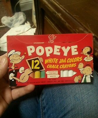 Vintage Popeye Chalk Crayons White And Colors 1953 American Crayon Company