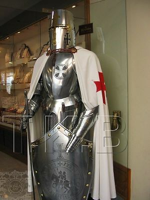 Medieval Knight Suit of Templar Armor Sword Combat Full Body Armour Stand shield