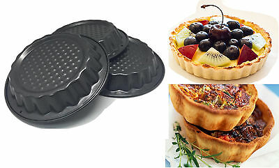 2 x 3PCS Mini Non-Stick Cake Tart Pie Tins Party Dessert Moulds Bakeware Tray