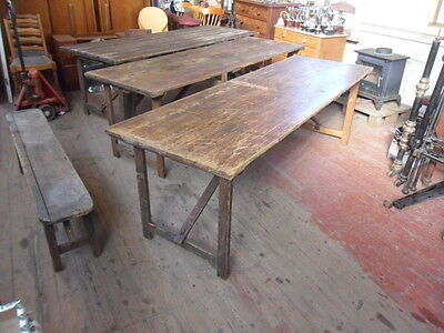 1 antique church chapel plank top trestle table large 8ft banquet trestle table