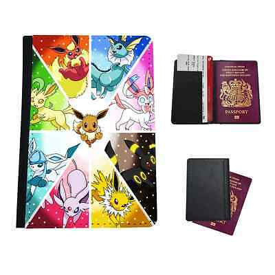 Pokemon Character Types Faux Leather Passport Holder Travel Flip Cover Case