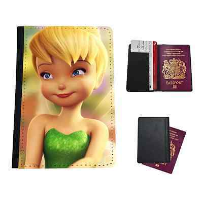 Pretty Tinkerbell Fairy Faux Leather Passport Holder Travel Flip Cover Case
