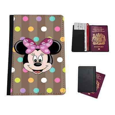 Minnie Polka Dot  Faux Leather Passport Holder Travel Flip Cover Case
