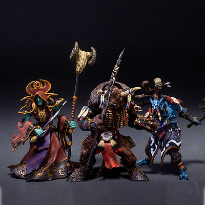 3 WOW World WARCRAFT TAUREN UNDEAD WARLOCK TROLL PRIEST ACTION FIGURE STATUE TOY
