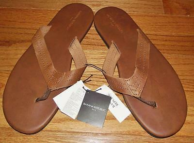 NEW NWT Banana Republic Men's Flip Flops Thong-Style Brown Leather $44.99