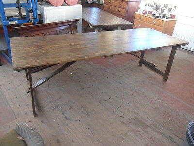 antique church chapel plank top trestle table folding 8ft banquet dining table 1