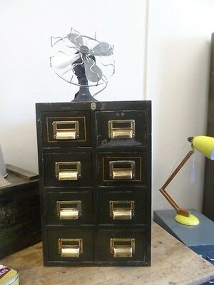 ** VINTAGE INDUSTRIAL METAL FILING CABINET WITH BRASS HANDLES Ex MILITERY  **