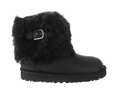 UGG Australia Big Kids' Girl's ELLEE LEATHER Shoes Boots Black 1008178K-BLK a