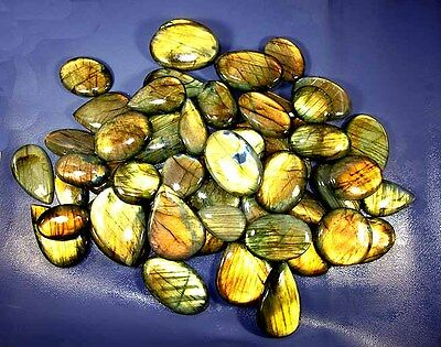Cottage-6 Natural Labradorite Golden Flash Cabochon Wholesale Lot 1000Cts/15Pcs