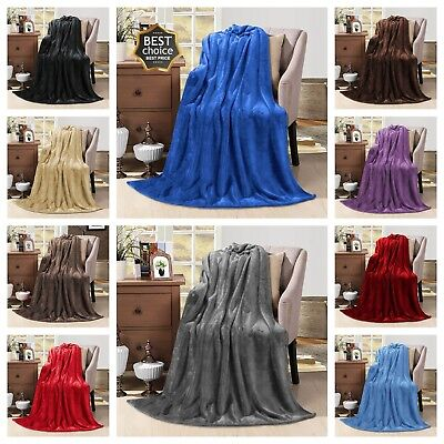 New Large Luxury Faux Fur Throws Sofa Bed Mink Soft Warm Fleece Blanket 9 Colors