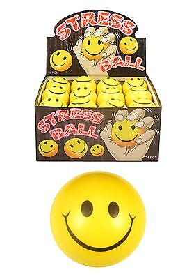 6 12 or 24 Smiley Face Stress Ball Toy Party Bag Filler Game EMOJI 7cm BULK BUY