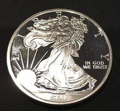 SMI Sunshine Mint Walking Liberty Proof Like 1 Troy Oz .999 Fine Silver Coin 999