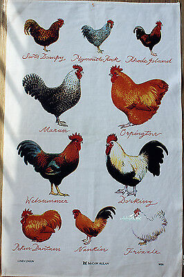Country Rustic Roosters Printed Linen Cotton Kitchen Tea Towel