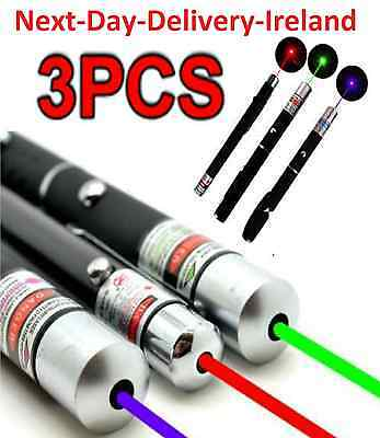 3PC Powerful 5MW Green+Blue Voilet+Red Laser Pointer Pen Beam -1mW Light Beam