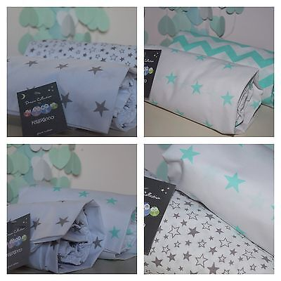 2 x Cot Bed Fitted Sheet 100% COTTON Mint ,Grey & White stars chevron Bedding