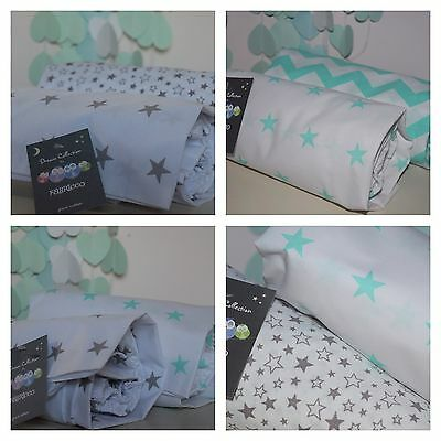 2 x Cot Bed Fitted Sheet COTTON Mint ,Grey,White stars chevron Toddler Bedding