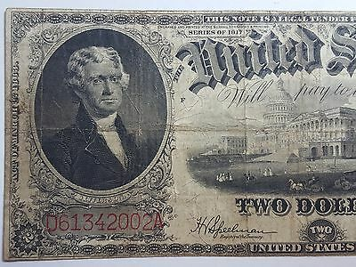 Series 1917 Two Dollars $2 Large Size United States Note FR-60M Mule Note #1