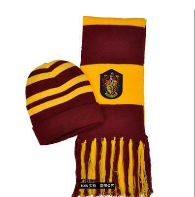 Harry Potter Gryffindor Knit Beanie Hat Cap and Scarf Deathly Hallows Costume UK