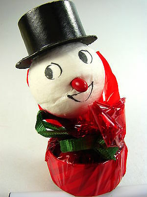 ANTIQUE RED/GREEN CELLO WRAP CHRISTMAS SNOWMAN INTACT CANDY CONTAINER - 1930-50s