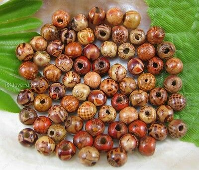 wholesale Mix 100pcs Painted round wood spacer beads 8mm