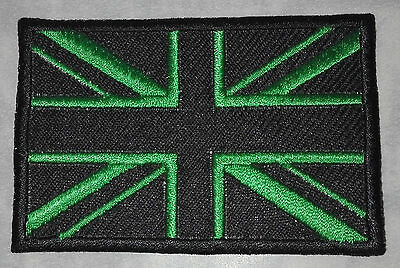 BLACK & GREEN UNION JACK MOD - SEW OR IRON ON BIKER MOTORCYCLE PATCH no-286