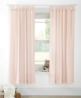 SALE BNWT MAMAS AND PAPAS NIGHT TIME HUGS GINGHAM GIRLS CURTAINS SIZE 132 x 160