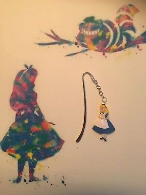 Alice In Wonderland  Bookmark Silver plated With a Resin Charm.