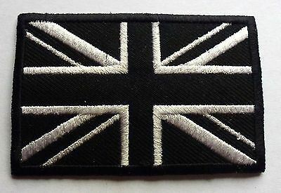 BLACK & WHITE UNION JACK MOD - SEW OR IRON ON BIKER MOTORCYCLE PATCH no-406