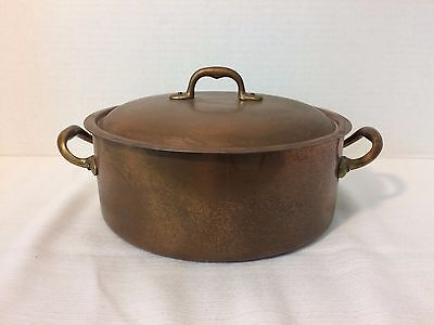 Vintage Solid Copper Stock Pot Double Handle Saucepan 2 1/2qt Made in Italy Lid