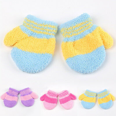 Cute Baby Kids Full Finger Warm Winter Gloves Toddler Knit Mittens Xmas Gifts